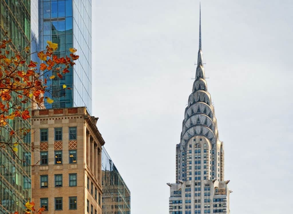 NYC's iconic Chrysler Building in the fall.