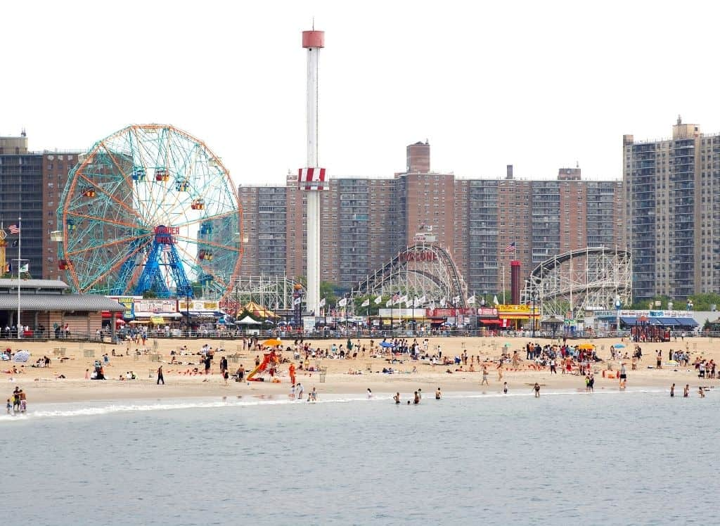 An aerial view of the beaches and amusement park at Coney Island