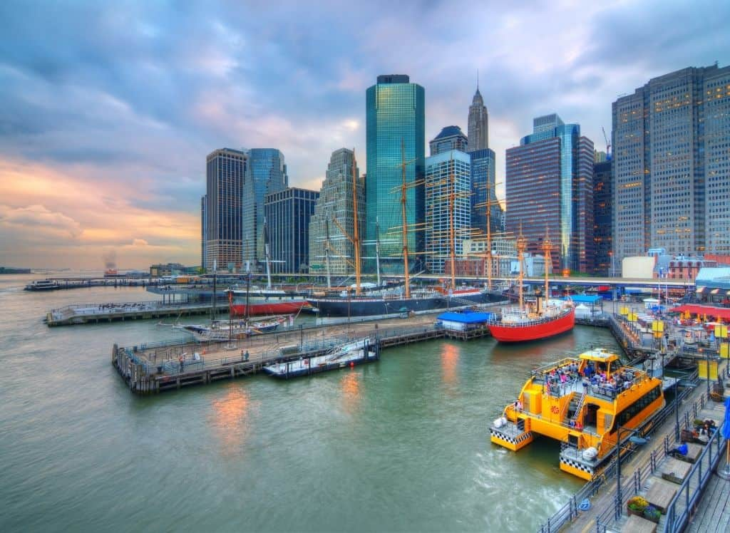 An aerial view of Southstreet Seaport in the evening.