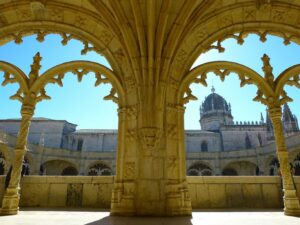 The architectural beauty of one of Lisbon's most famous attractions, Mosteiro dos Jeronimos.