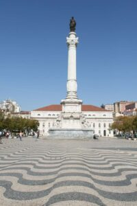 The tile work throughout Rossio Square, in Lisbon, is basically one giant optical illusion.