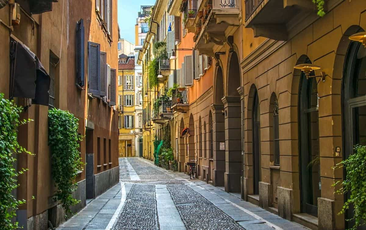Charming cobblestone streets of the Brera District in Milan.