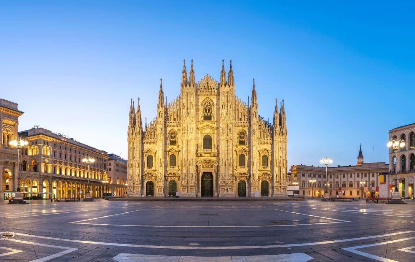 Exterior of the Duomo di Milano in Milan.