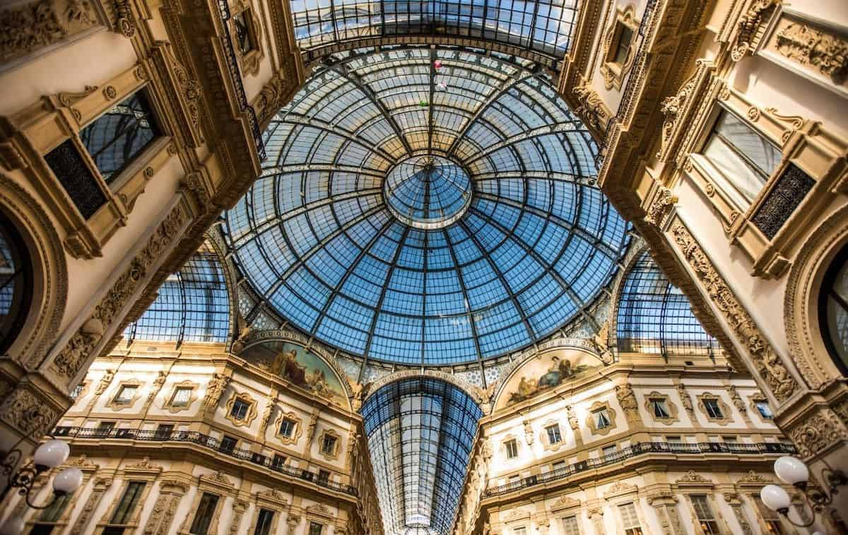 The newly refurbished roof of the Galleria Vittorio Emanuele II shopping arcade in Milan. A must-see during your one day in Milan itinerary.