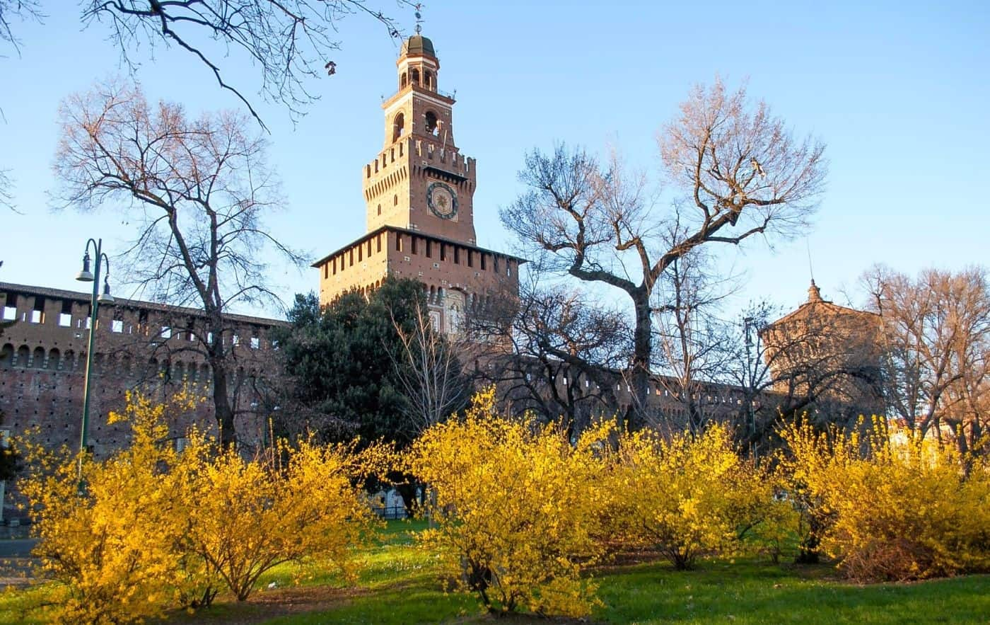 Stunning exterior of Sforza Castle in the evening.