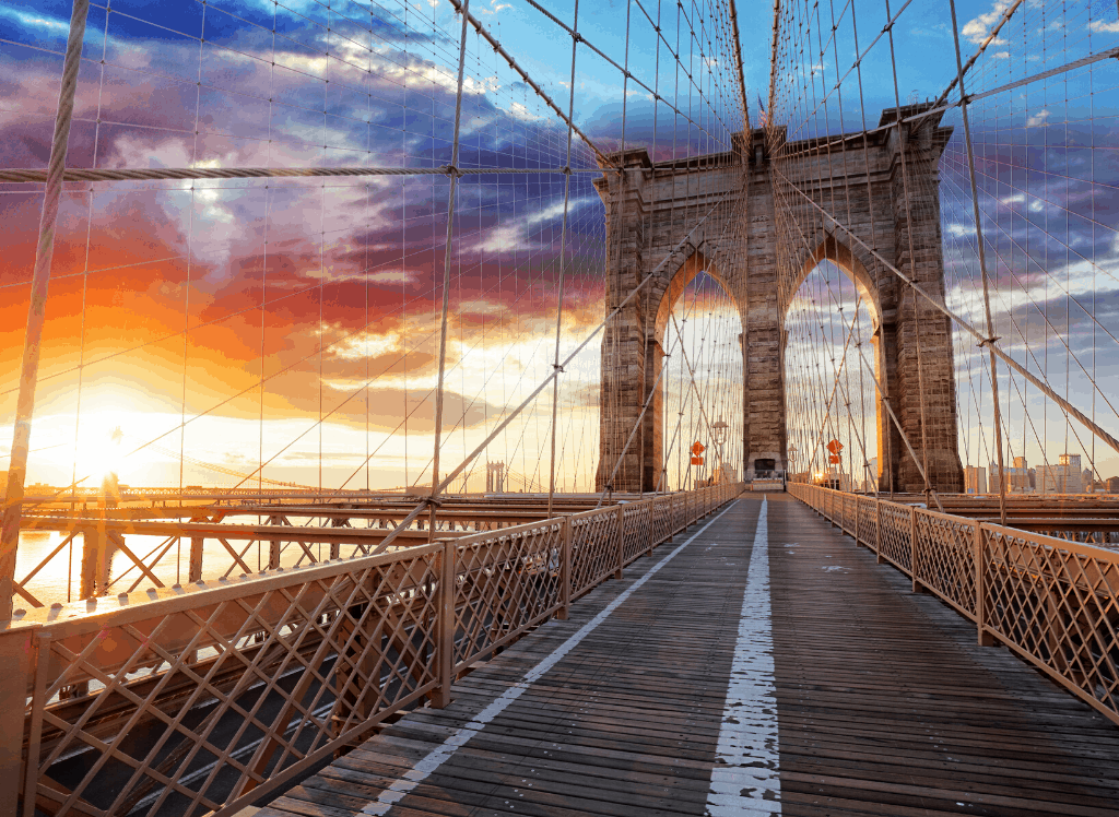 The faster you get out of JFK, the more quickly you can enjoy amazing NYC views like this one of the Brooklyn Bridge.