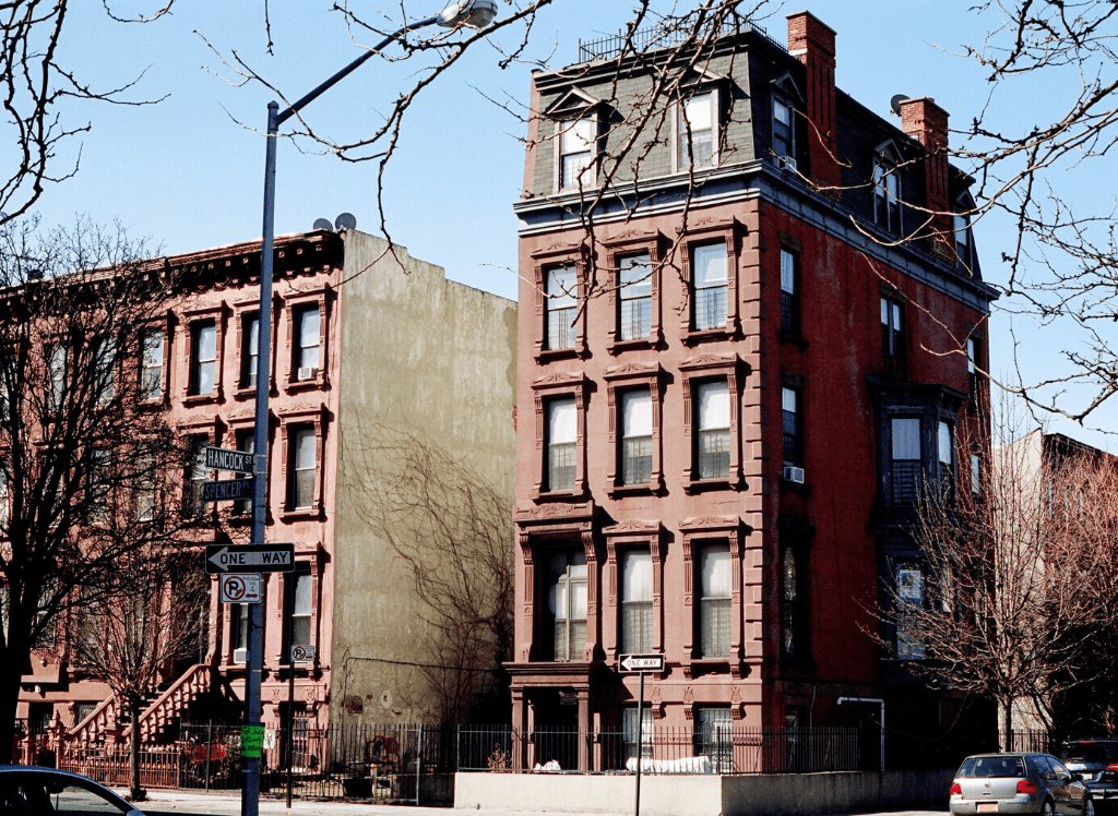 Some of the many homes and apartment buildings you'll find in Brooklyn.