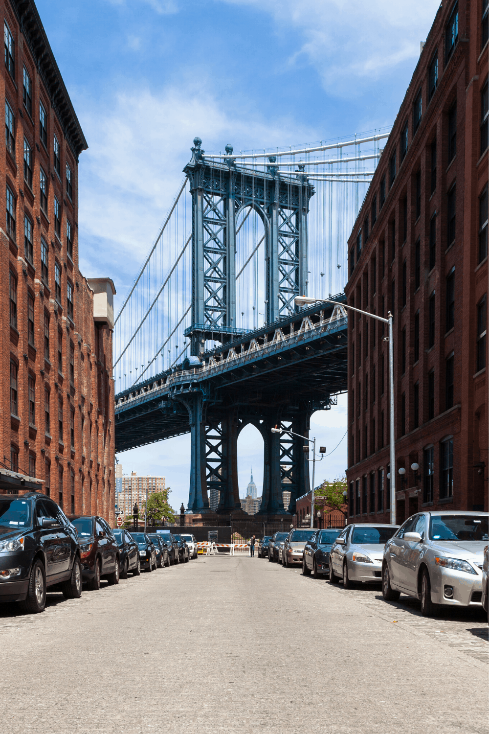 An iconic shot of the Manhattan Bridge in DUMBO from the corner of Washington Street and Water Street.