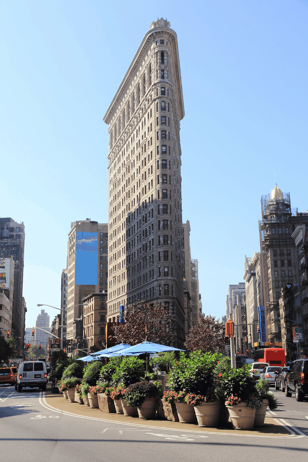 The unique, triangle shape of New York's Flatiron building.