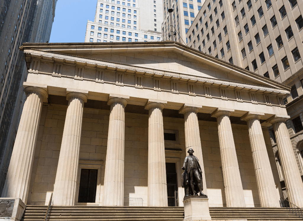 The Greek Revival Facade of New York City's Federal Hall.