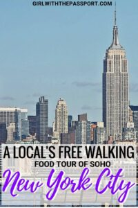 When planning New York City travel, a local food tour should be on the top of your bucket list. Not only are food tours a great way to see the city, but they expose you to some of the best restaurants and New York City food, in iconic neighborhoods like SOHO. So check out this local's guide to all the New York City things to do in SOHO; like Dominique Ansel Bakery, MOMA design store, Magnum Ice Cream Shop, etc. #foodie #NYC #NewYorkCity #travel #wanderlust #USA