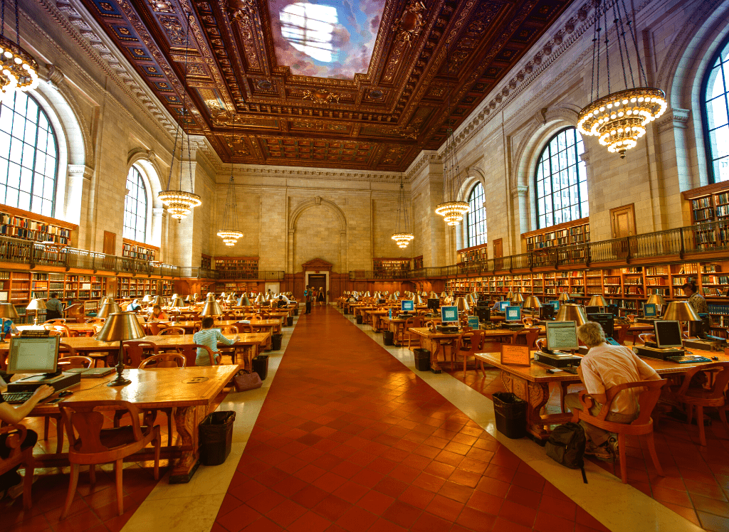 One of the main reading rooms inside the New York Public Library.