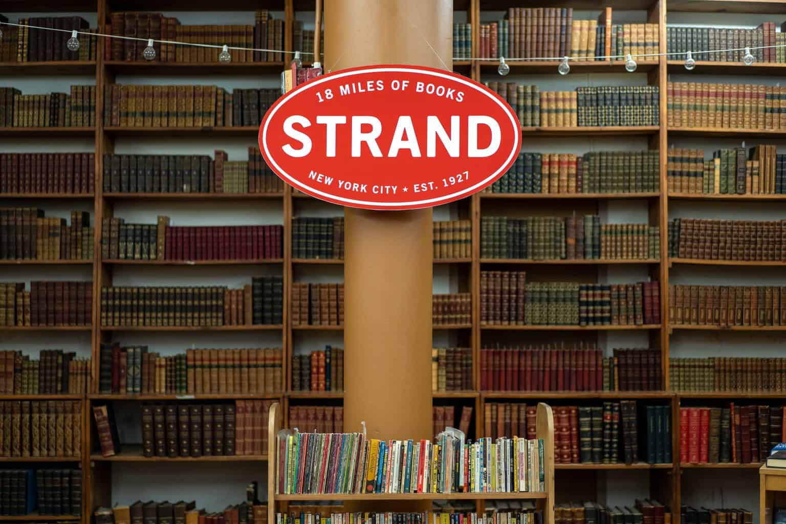 The endless stacks of books that you'll discover in New York City's Strand Bookstore.