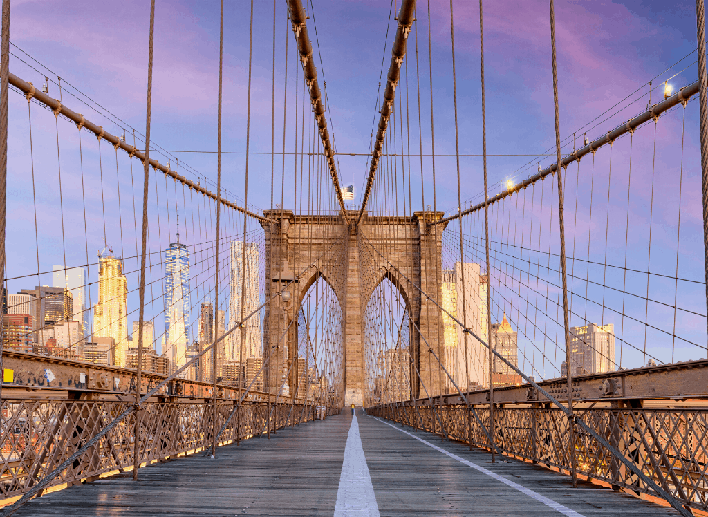 A beautiful view of NYC's famous, Brooklyn Bridge. One of the many things you'll see during this 4 days in New York itinerary.