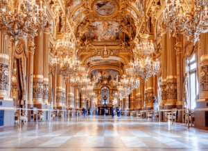 Some of the amazingly opulent decor that you'll find inside the Palais Garnier, Paris' iconic opera house.
