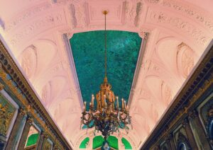 The uniquely beautiful green ceiling of the Mirror Room in the Royal Palace.