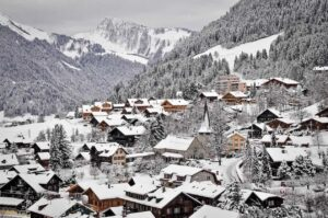 The beautiful snow covered town of Château-d'Oex, Switzerland.