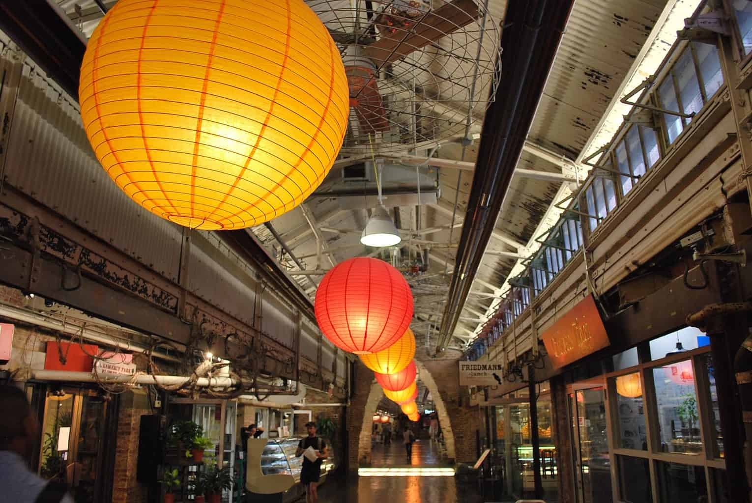 The beautiful, industrial feeling interior of Chelsea Market.
