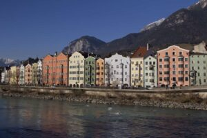 Some of the charming architecture you will find in Innsbruck, Austria.