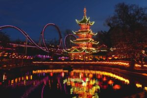 The enchanting beauty of Tivoli Gardens after dark.