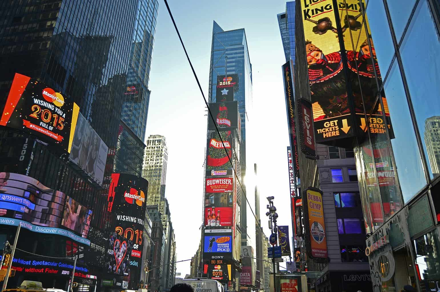The bright lights and Broadway posters that you'll find throughout Times Square.