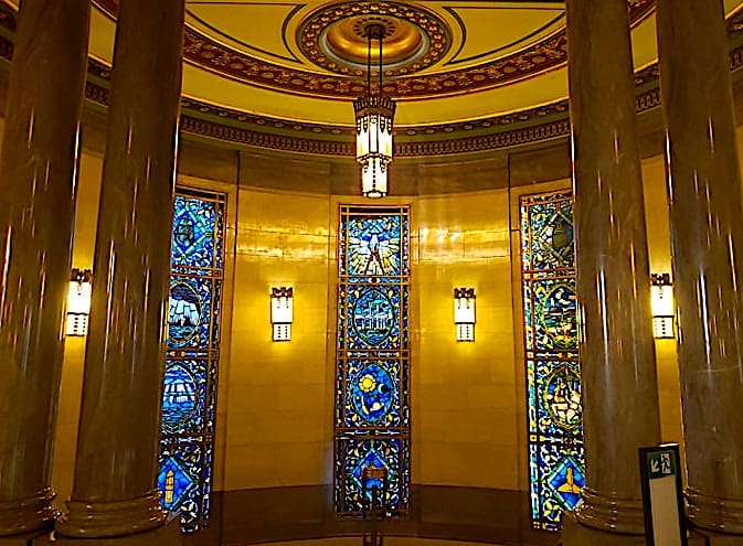 Some of the stunning, Art Deco style decor you'll find inside the Museum of Free Masonry in London.