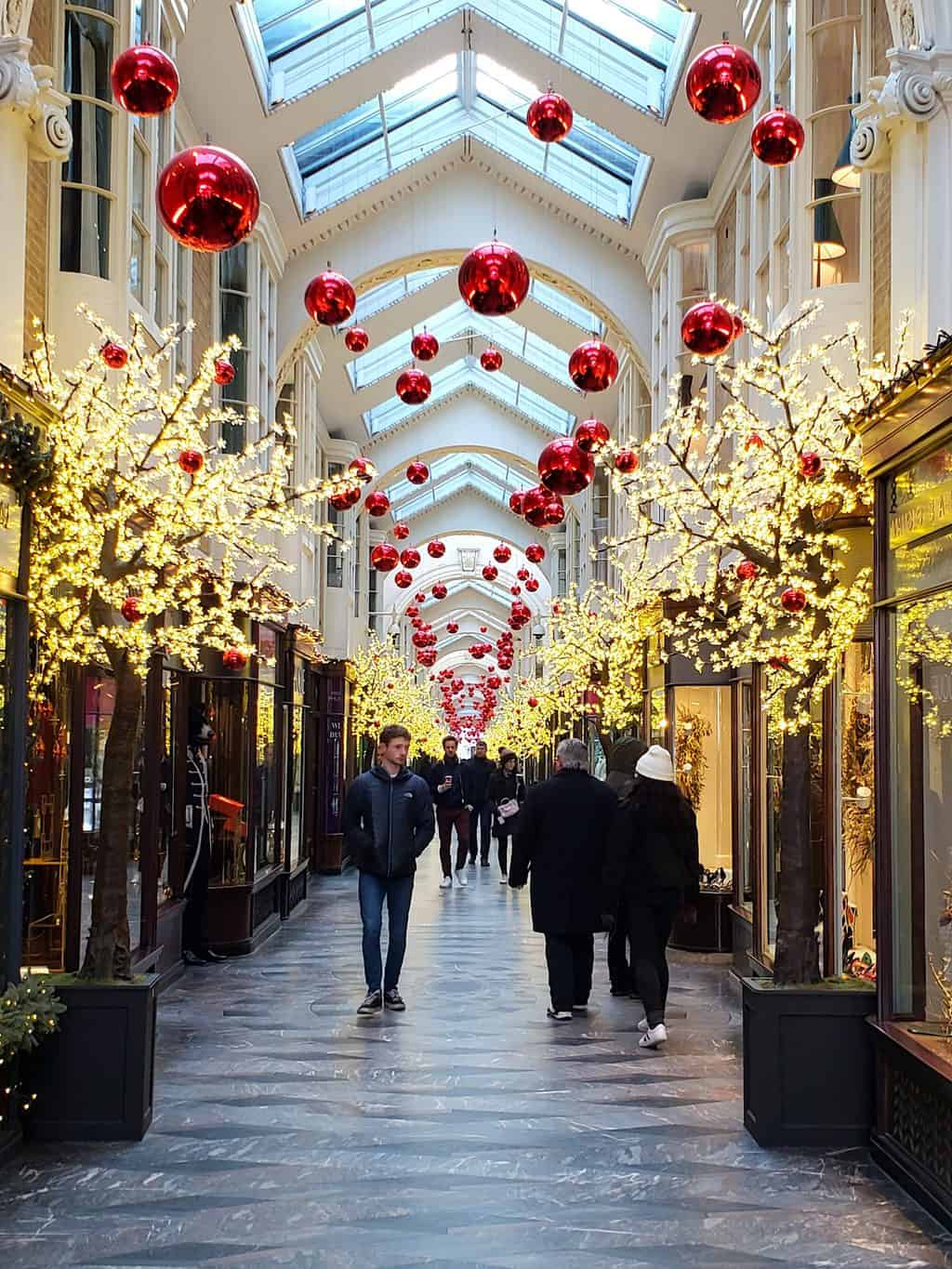 The stunning Burlington Arcade during the holiday season in London.