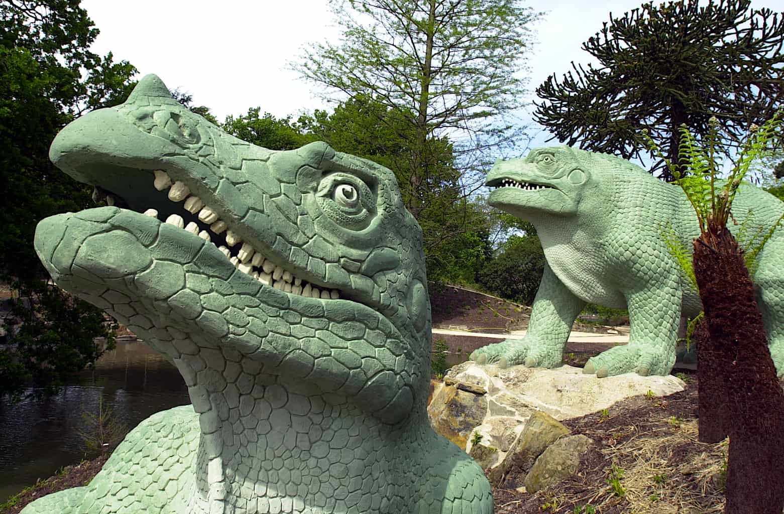 Some of the fantastic dinosaur statues that you'll find inside London's Crystal Park.