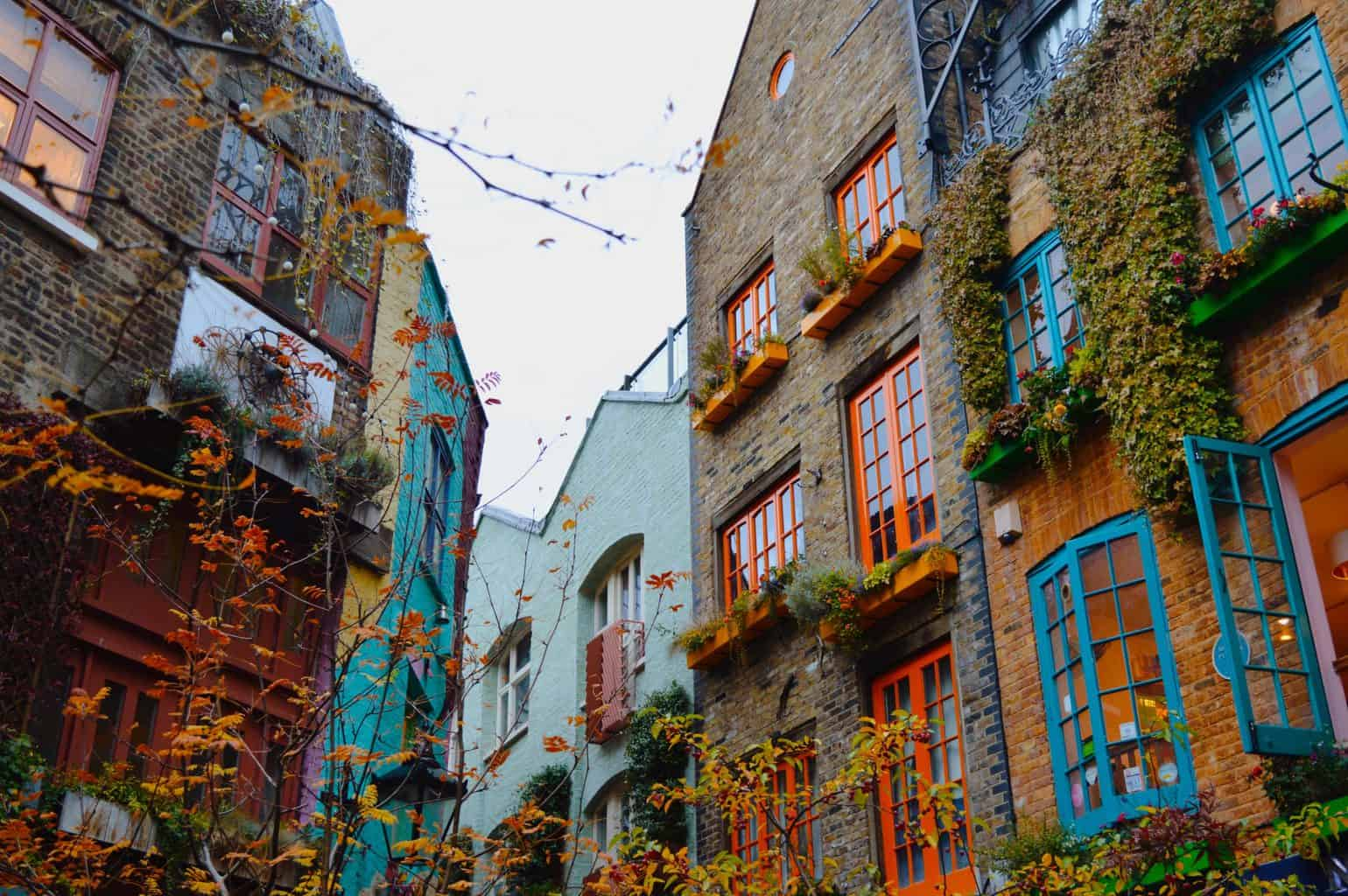 The vibrant colors of London's Neal's Yard, one of the most unusual things to do in London.