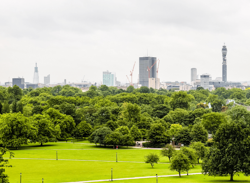 The amazing views you'll find at the top of Primrose Hill in London.