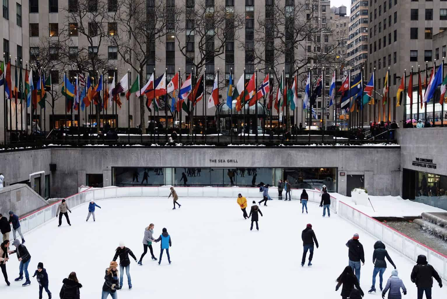Ice skating at Rockefeller Center in the winter.