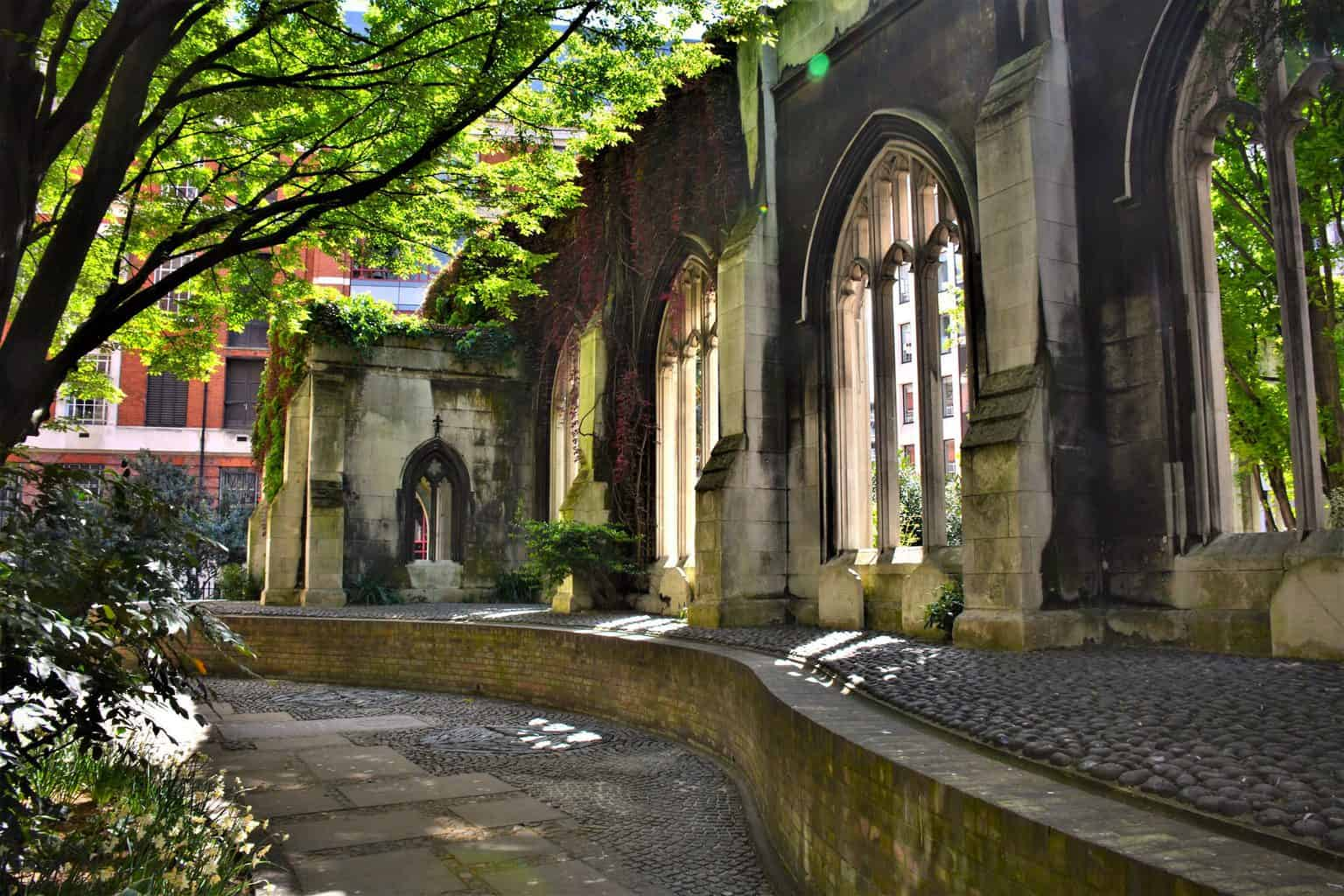 The haunting beautiful ruins of St. Dunstan in the East, one of the most unusual things to do in London.