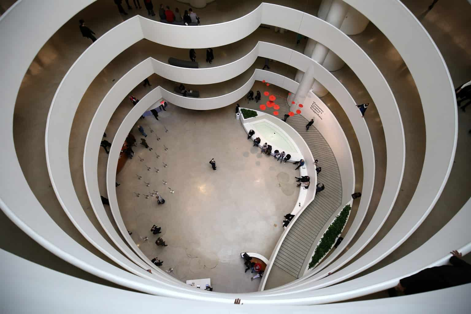 An aerial view of the main concourse in the Guggenheim.