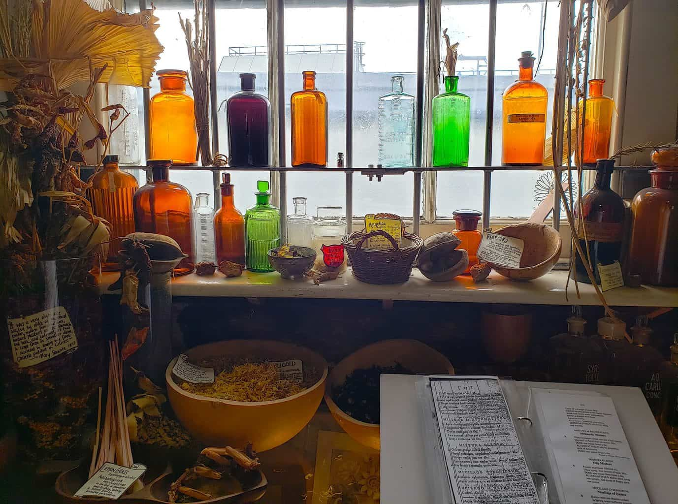Some of the relics from the apothecary shop that you'll find inside London's Old Operating Theatre.