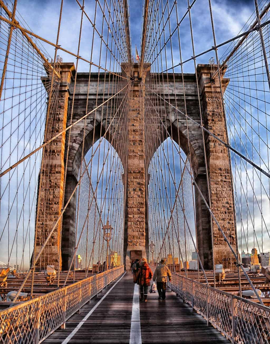 A close-up view of the Brooklyn Bridge.