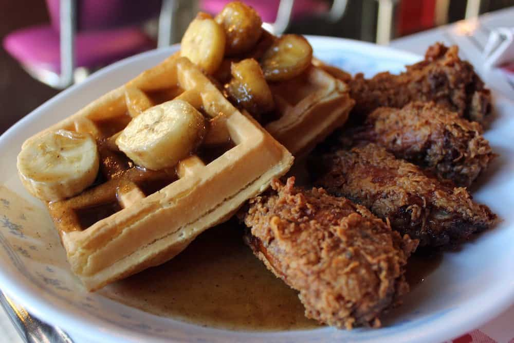 Fried chicken and waffles from Sugar freak in Queens