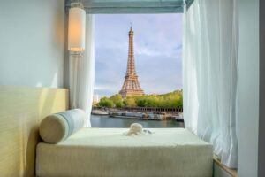Is there anything better than a hotel room with a view of the Eiffel Tower? And in case you were wondering, the correct answer to this question is NO!
