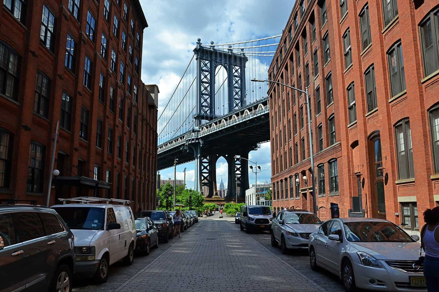 A view of the Brooklyn Bridge from DUMBO.