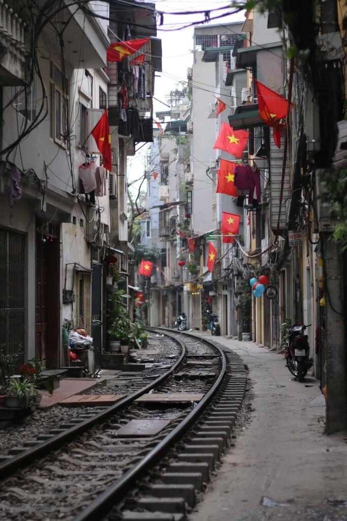 The immortal Hanoi train tracks that go right through train street.