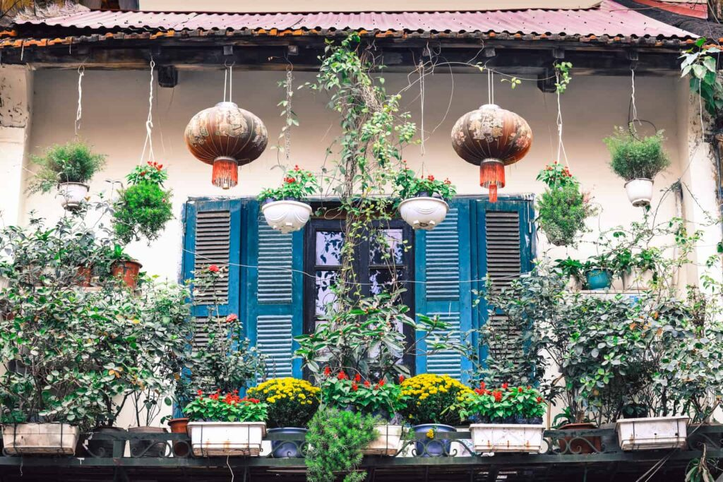 Some of the French, colonial architecture that you'll find within Hanoi's Old Quarter.