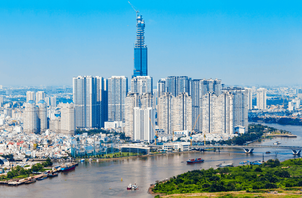 The quirky beauty of Bitexco tower in the distance.