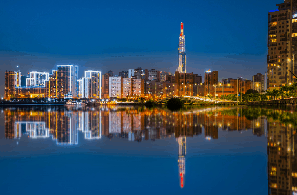 The electric glow of Landmark 81 along Ho Chi Minh's skyline.