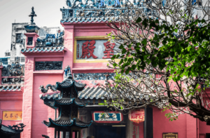 The pastel, pink perfection of Ngoc Hoang Pagoda.