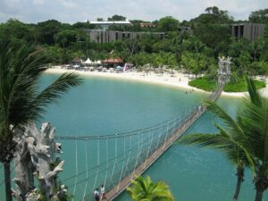 The beautiful beaches that you'll find on Sentosa Island in Singapore.