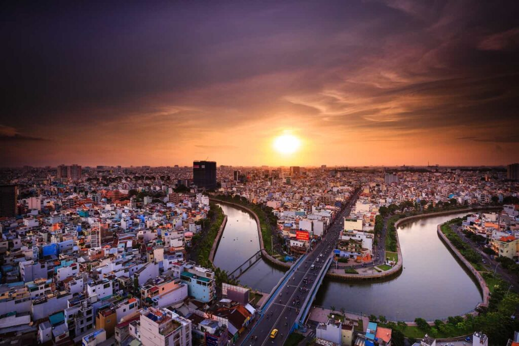 Ho Ch Minh's beautiful skyline at sunset.