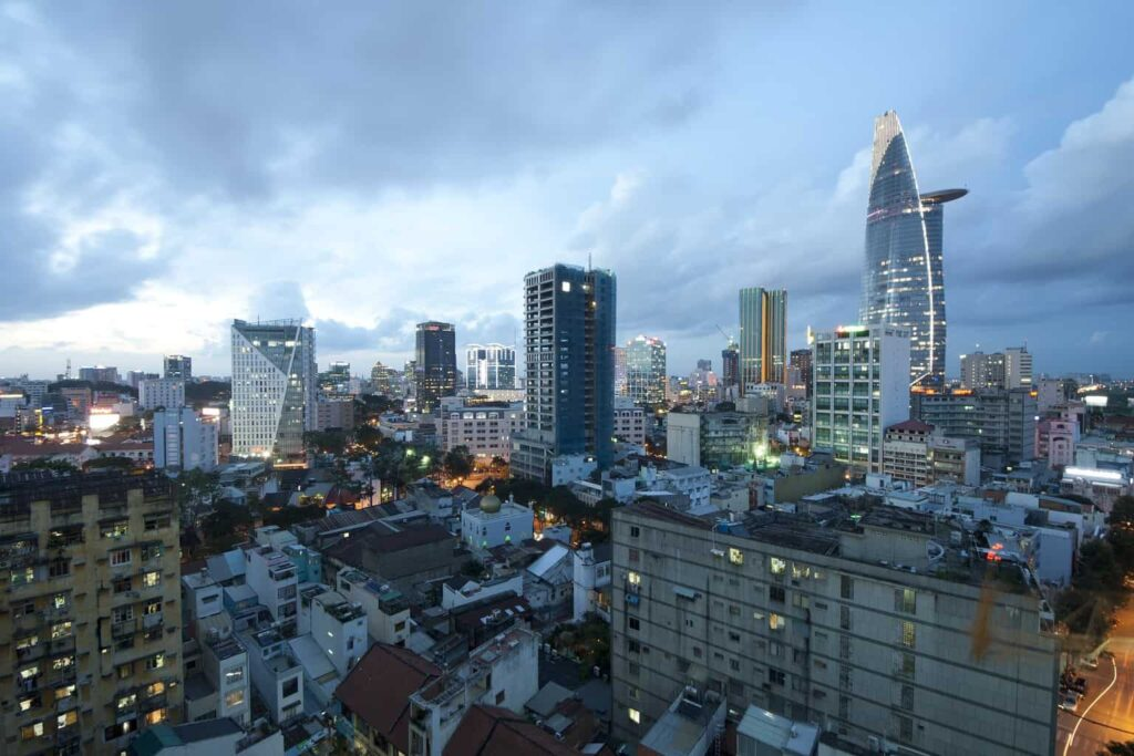 Bitexco and the urban beauty of Saigon in the evening.