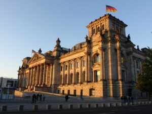 The beautiful Reichstag parliament building in Berlin.