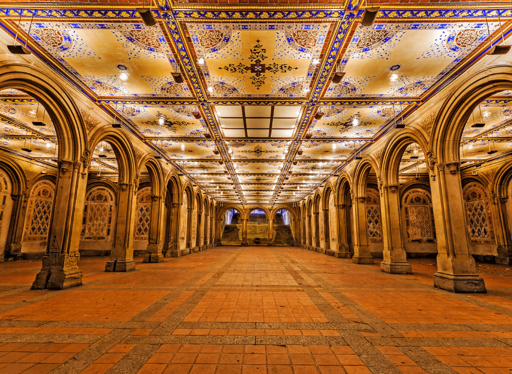 The beautiful arches that you'll find beneath the Bethesda Fountain Terrace, in Central Park.