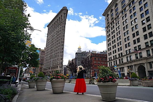 Marveling at the architectural beauty of the Flat Iron Building in NYC.