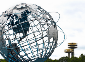 The iconic, 12-story, steel globe and classic, UFO shaped towers that you'll find in Queens' Flushing Meadow Corona Park.